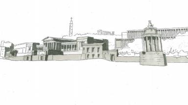 Initial sketches of the old Royal High School from the Burns Monument