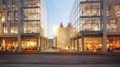 Marischal Square: Artist's impression of how Provost Skene's House, rear centre, will fit in.
