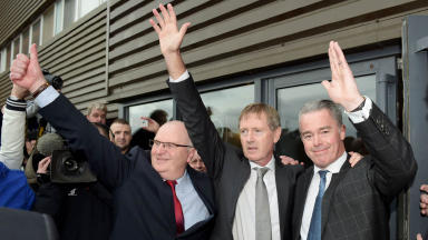 Dave King, Paul Murray and John Gilligan outside Ibrox after Rangers EGM victory on Friday March 6, 2015. Image from SNS
