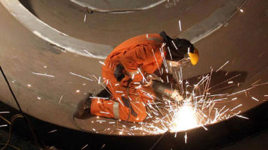 Anonymous welder welding apprenticeship apprentice shipbuilding, engineering quality news image from PA uploaded May 14 2015