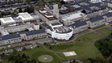 Ninewells Hospital Dundee aerial shot public domain image from Wikipedia uploaded May 19 2015