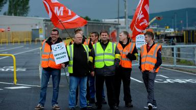 RMT picket staff at CalMac in Gourock, on strike picket June 26 2015 quality news image uploaded June 26 2015