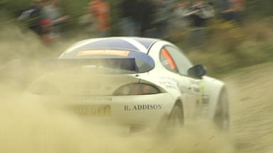 Rally car injures three spectators after crashing into the crowd.