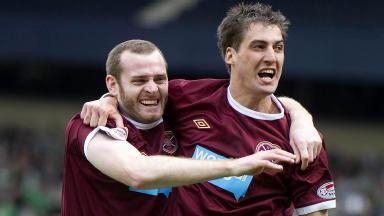 Hearts' goalscorers Craig Beattie and Rudi Skacel