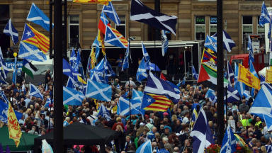 Referendum: Independence supporters march in lead up to vote.