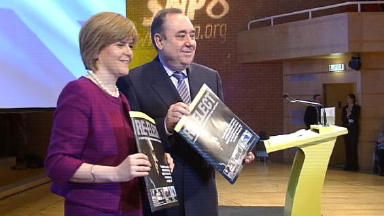 Conference: Nicola Sturgeon and Alex Salmond launching the party's manifesto in April.