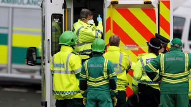 Ambulance workers / paramedics with police. Uploaded from PA October 9 2015. High quality