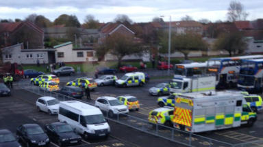 Armed police and bomb disposal at Kirkcaldy Bank of Scotland. Pic from Craig Millar at scene. Uploaded on November 11 2015.