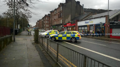RTC outside Haghill Primary School on Cumbernauld Road just off Aberfeldy Street and Edinburgh Road Glasgow, quality scene picture taken by STV Alison McCallum uploaded Tuesday November 17 2015