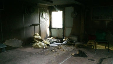 Burnt out: Police say the fire was deliberate.