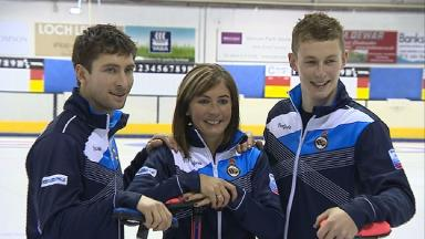 Eve Muirhead with her two brothers Glen (left) and Thomas (right)