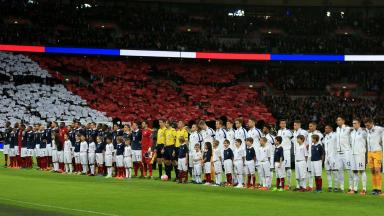 Tribute: Wembley honoured those who died in the Paris attacks.