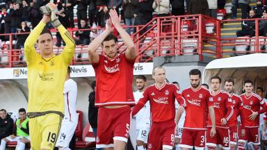 Aberdeen's players at Hamilton in November 2015