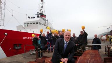 Jim McColl: Scots tycoon at Ferguson shipyard after buying it over.