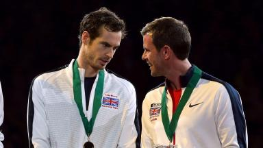 Andy Murray and Leon Smith enjoy Davis Cup success