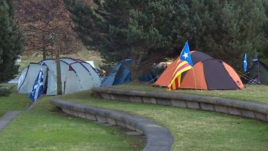 Legal action: Campaigners planning to stay outside Holyrood until Scotland is independent.
