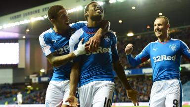 Nathan Oduwa celebrates his goal against Dumbarton