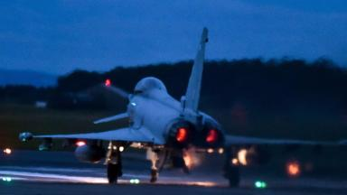 Jets: RAF typhoons leave for bombing raids in Syria.