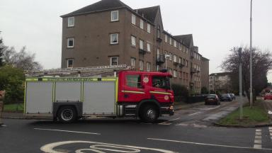 Blaze: Fire crew at blaze on Ferry Road, Edinburgh.