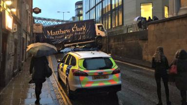Calton Road: Lorry crashed into wall in city centre.