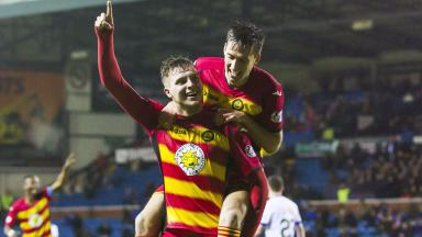 Brace: Robbie Muirhead celebrates scoring against Kilmarnock last weekend.
