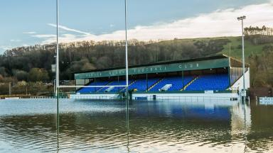 Flooded: Hawick Rugby and Football Club on Sunday.