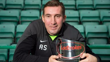 Delight for Hibernian Manager Alan Stubbs as he receives the Ladbrokes Championship Manager of the Month Award for November.