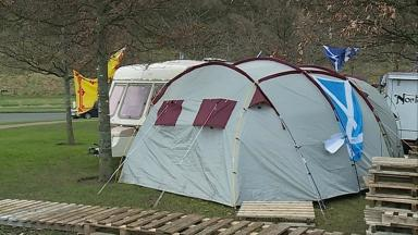 Staying put: Independence campaigners have set up camp outside Scottish Parliament.