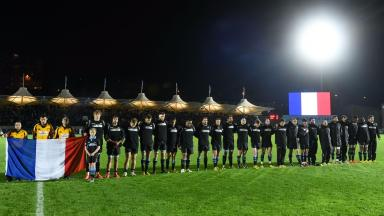Tribute: Glasgow Warriors show their support to Paris before facing Northampton Saints.
