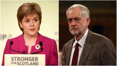 STUC Rally: Sturgeon and Corbyn.