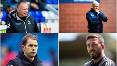 Clockwise from top left: John Hughes, Mark Warburton, Derek McInnes, Alan Archibald