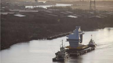Control tower: The 750-tonne section left Glasgow on 10 December.
