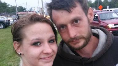 Rebecca Hardy with her fiancé, Matt Grattan.