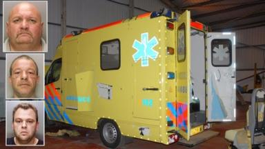 From top: Leonardus Bijlsma, Olof Schoon and Richard Engelsbel and one of the fake ambulances used in the plot.