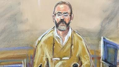 An artist's sketch of Carl Wood giving evidence in court on Monday.