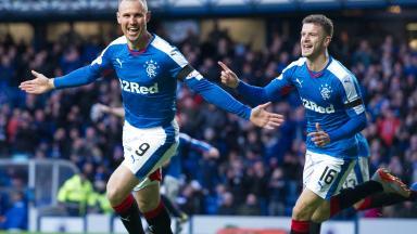 Rangers' Kenny Miller (left) celebrates his goal against Morton.