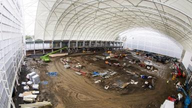 Scale: The huge indoor pitch under construction at Oriam