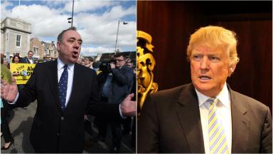 Alex Salmond on the General Election campaign trail in Inverurie in the Gordon constituency and File photo dated 8/6/2015 of US presidential hopeful Donald Trump uploaded December 16 2015