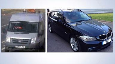 Vehicles: Van and car police looking for as part of probe.