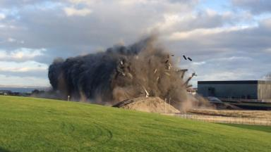 Gone: The last remaining part of Cockenzie power station demolished