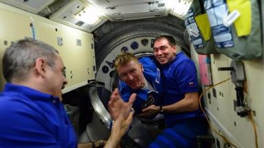 Tim Peake on his arrival at the space station.