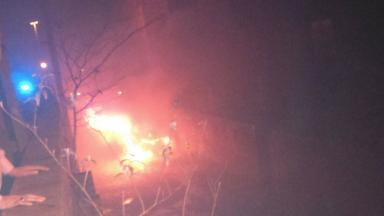 Blaze: Car on fire in lane in Glasgow's Garnethill.