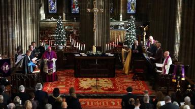 Service: Hundreds turned out at Glasgow Cathedral for first anniversary.