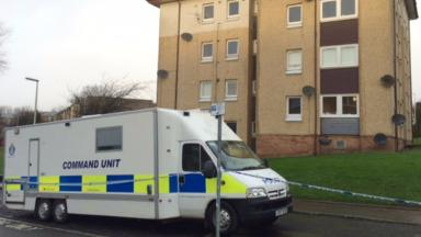 Police at Thurso Crescent in Dundee where man found seriously injured later died. Pic from broadcast at scene. Uploaded on Dec 23 2015.