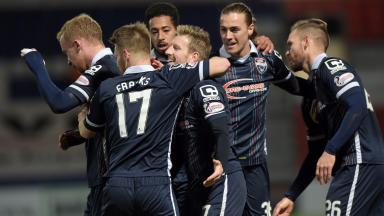 Ross County's Michael Gardyne (centre) celebrates after making it 3-2.