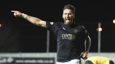 Falkirk's Lee Miller celebrates after making it 1-0.