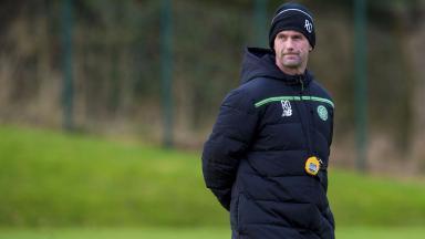 Ronny Deila at Celtic training.