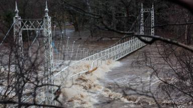 Storm Frank: Cambus o' May suspension bridge was badly damaged.
