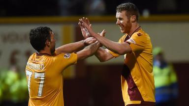 Stephen Pearson celebrates Motherwell's second goal.