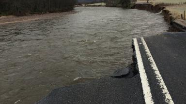 Storm Frank: Massive section of A93 Ballater-Crathie road washed away